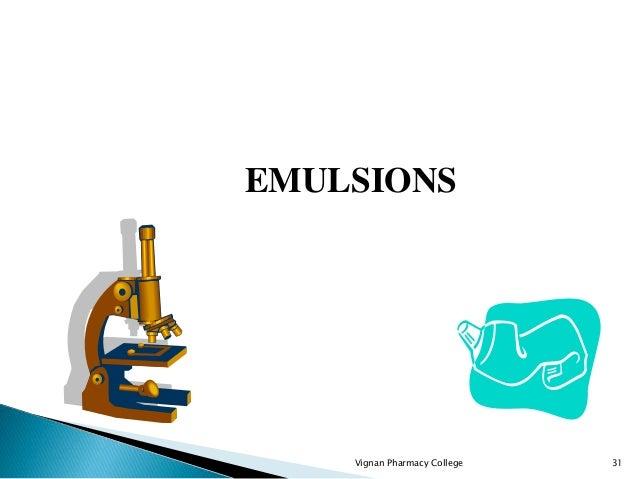 Vignan Pharmacy College 31 EMULSIONS