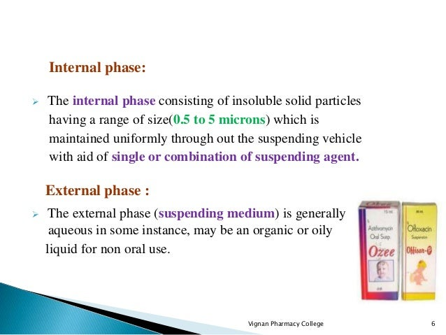 The internal phase consisting of insoluble solid particles having a range of size(0.5 to 5 microns) which is maintained ...