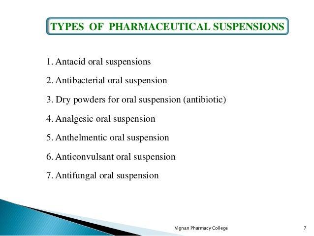 1. Antacid oral suspensions 2. Antibacterial oral suspension 3. Dry powders for oral suspension (antibiotic) 4. Analgesic ...