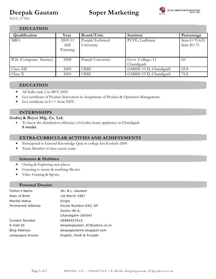 Deepak Gautam                                       Super Marketing MALE, 23 YRS           EDUCATION   Qualification      ...
