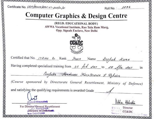 certificate computer training hardware deepak slideshare upcoming