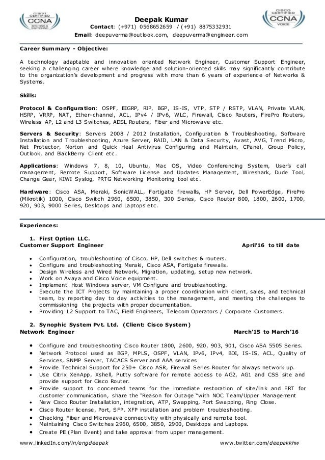 Resume For Network Engineer L2, Network Admin, Team Leader, System Ad…