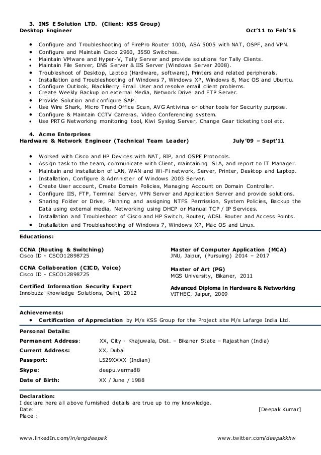 2 www - Resume For Network Engineer