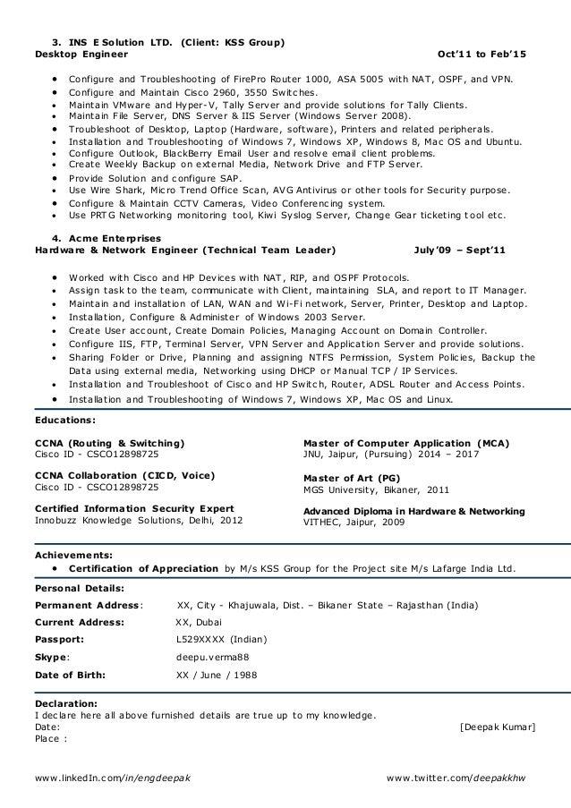SlideShare  Network Admin Resume