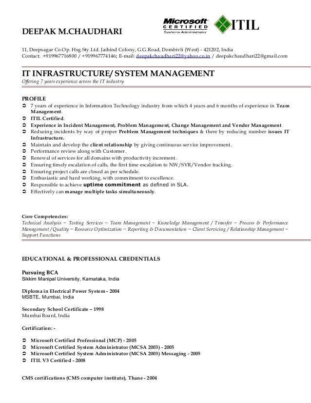 Certified Itil Resume Writingz Web Fc2 Com