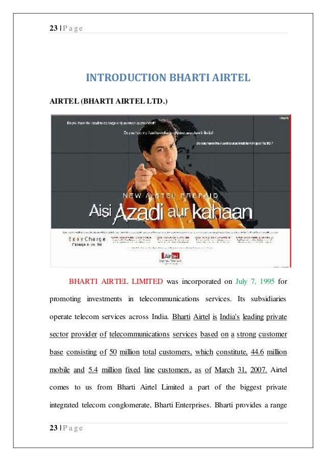 project report bharti airtel See bharti airtel limited salaries collected directly from employees and jobs on indeed.