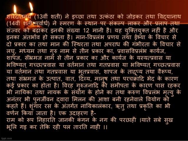 शारदातनय (13वीं शती) ने इच्छा तथा उत्कं ठा को जोड़कर तथा ववद्यानाथ (14वीं शती पूवाशधश) ने स्त्मरण के स्त्थान पर संकल्प लाक...