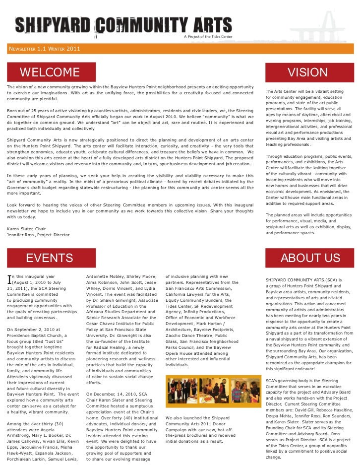 NEWSLETTER 1.1 WINTER 2011      WELCOME                                                                                   ...