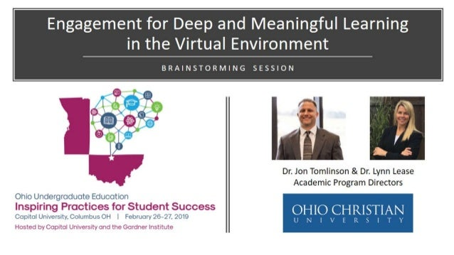 Engagement for Deep and Meaningful Learning in the Virtual Environment