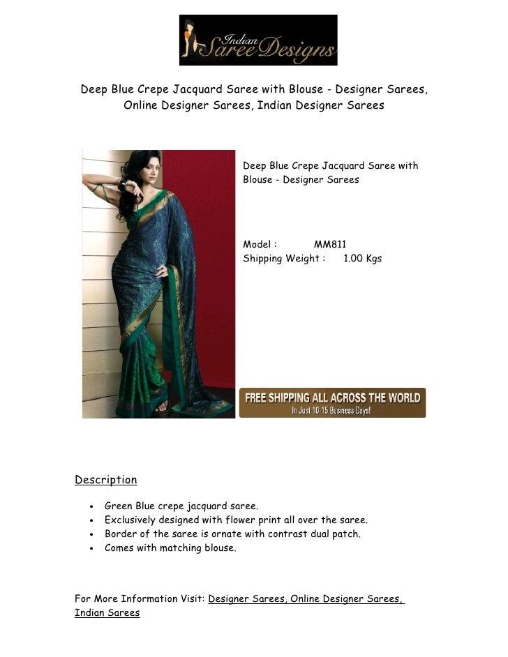 Deep Blue Crepe Jacquard Saree with Blouse - Designer Sarees,         Online Designer Sarees, Indian Designer Sarees      ...