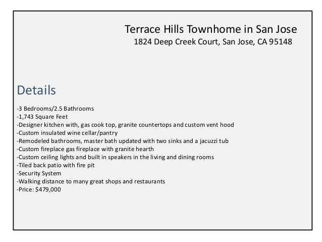 Terrace Hills Townhouse For Sale 1824 Deep Creek Court