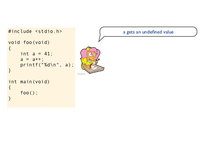 #include <stdio.h>                  a gets an undefined valuevoid foo(void)                                  I don't get a ...