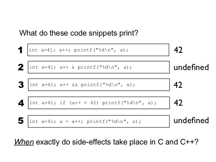 Sequence PointsA lot of developers think C has many sequence points