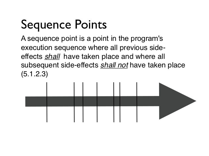 Sequence PointsThe reality is that C has very few sequence points.This helps to maximize optimization opportunitiesfor the...