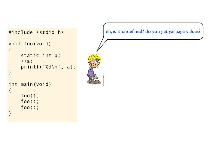 #include <stdio.h>       eh, is it undefined? do you get garbage values?void foo(void)                                     ...