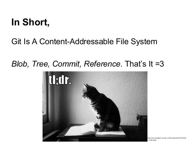 In Short, Git Is A Content-Addressable File System Blob, Tree, Commit, Reference. That's It =3 http://www.juliagiff.com/wp...