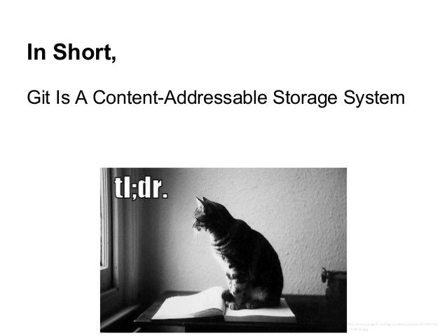 In Short, Git Is A Content-Addressable Storage System http://www.juliagiff.com/wp-content/uploads/2014/03/tld r_trollcat.j...