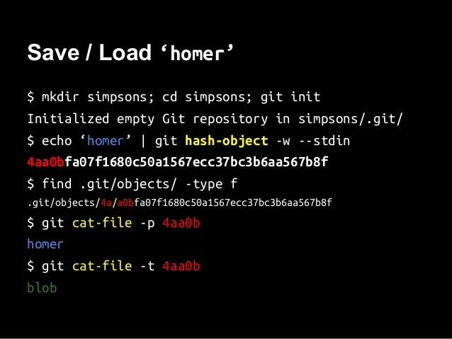Save / Load 'homer' $ mkdir simpsons; cd simpsons; git init Initialized empty Git repository in simpsons/.git/ $ echo 'hom...