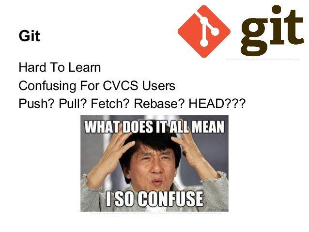 Git Hard To Learn Confusing For CVCS Users Push? Pull? Fetch? Rebase? HEAD??? http://www.quickmeme.com/img/fd/fd09e17b3393...
