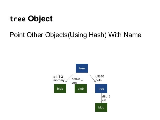 tree Object Point Other Objects(Using Hash) With Name tree blob blob tree blob a113f2 mommy b8934 son c9240 pets d9b13 cat