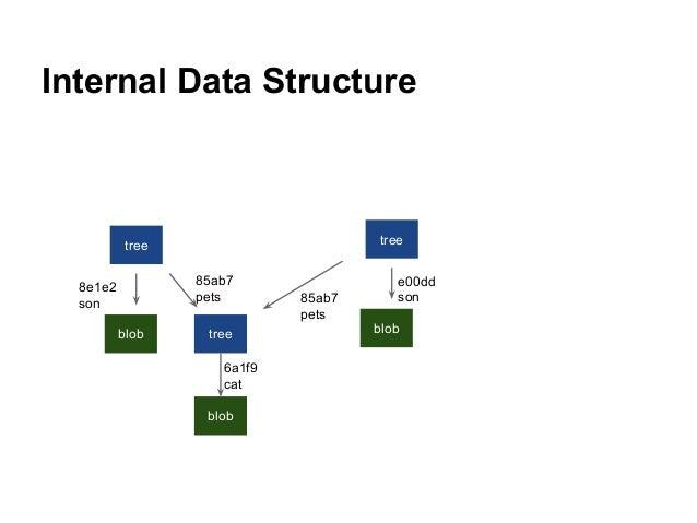 Internal Data Structure tree blob tree blob tree blob e00dd son85ab7 pets 8e1e2 son 85ab7 pets 6a1f9 cat