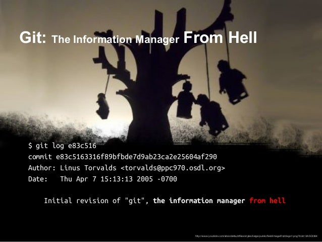 Git: The Information Manager From Hell $ git log e83c516 commit e83c5163316f89bfbde7d9ab23ca2e25604af290 Author: Linus Tor...
