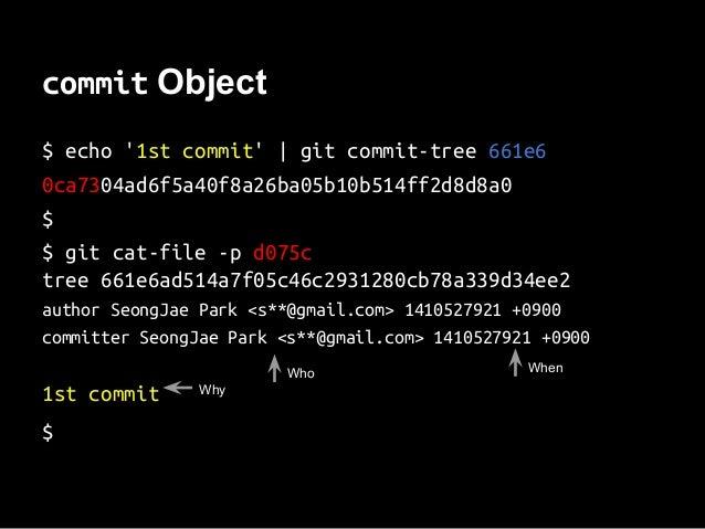 commit Object $ echo '1st commit'   git commit-tree 661e6 0ca7304ad6f5a40f8a26ba05b10b514ff2d8d8a0 $ $ git cat-file -p d07...
