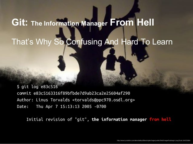 Git: The Information Manager From Hell That's Why So Confusing And Hard To Learn $ git log e83c516 commit e83c5163316f89bf...