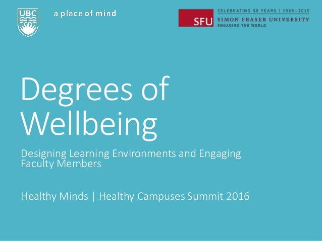 Degrees of Wellbeing Designing Learning Environments and Engaging Faculty Members Healthy Minds   Healthy Campuses Summit ...