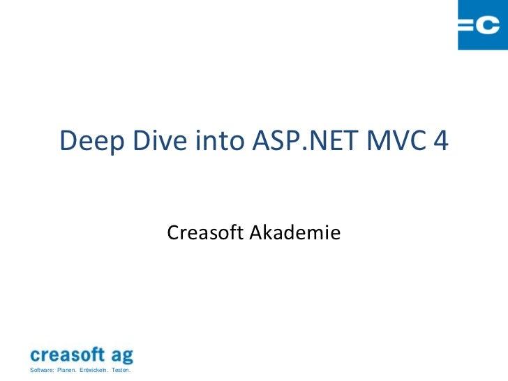 Deep Dive into ASP.NET MVC 4                                        Creasoft AkademieSoftware: Planen. Entwickeln. Testen.