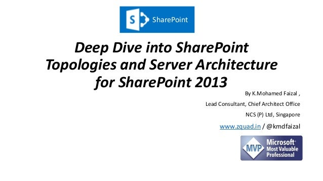 Deep Dive into SharePoint Topologies and Server Architecture for SharePoint 2013 By K.Mohamed Faizal , Lead Consultant, Ch...
