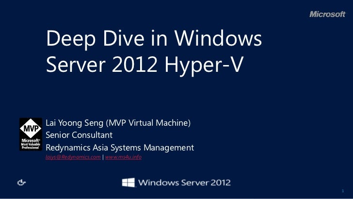 Deep Dive in WindowsServer 2012 Hyper-VLai Yoong Seng (MVP Virtual Machine)Senior ConsultantRedynamics Asia Systems Manage...