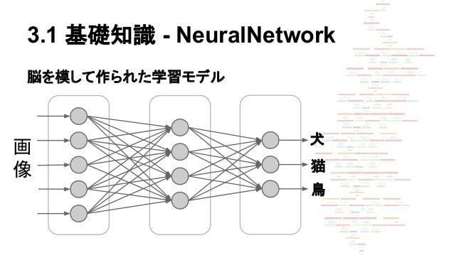 3.1 基礎知識 - NeuralNetwork 脳を模して作られた学習モデル 画 像 犬 猫 鳥