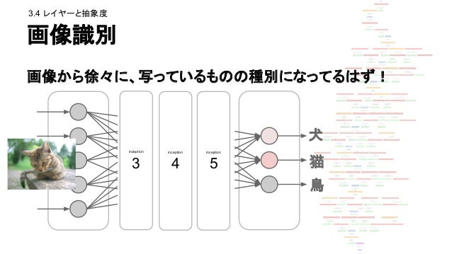 中間層 3a を強調 inception_3a/output (3のレイヤーの画像寄り) ● エッジ ● つぶつぶ 犬 猫 鳥 ince ptio n 3 ince ptio n 4 ince ptio n 5 3.4 レイヤーと抽象度