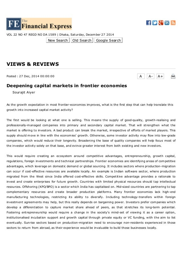 3/22/2015 Deepening capital markets in frontier economies | VIEWS & REVIEWS | Financial Express :: Financial Newspaper of ...