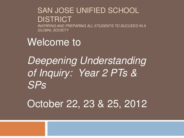 SAN JOSE UNIFIED SCHOOL  DISTRICT  INSPIRING AND PREPARING ALL STUDENTS TO SUCCEED IN A  GLOBAL SOCIETYWelcome toDeepening...