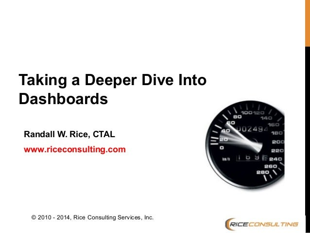 Taking a Deeper Dive Into Dashboards Randall W. Rice, CTAL www.riceconsulting.com  © 2010 - 2014, Rice Consulting Services...