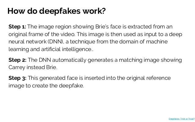 How do deepfakes work? Step 1: The image region showing Brie's face is extracted from an original frame of the video. This...
