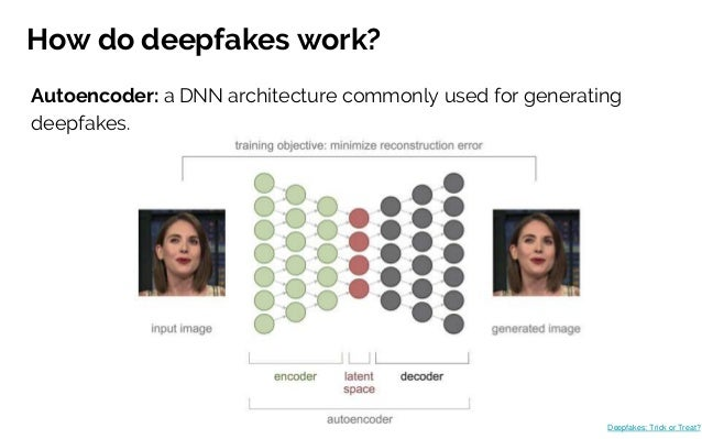 How do deepfakes work? Autoencoder: a DNN architecture commonly used for generating deepfakes. Deepfakes: Trick or Treat?