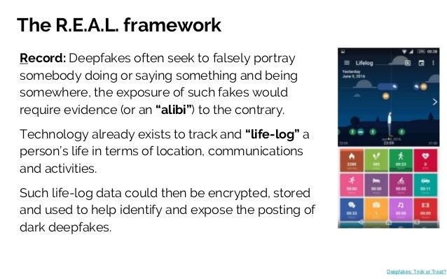 The R.E.A.L. framework Record: Deepfakes often seek to falsely portray somebody doing or saying something and being somewh...