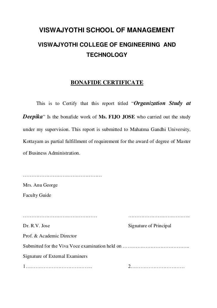 Deepika 2 viswajyothi school of management viswajyothi college of engineering and technology bonafide certificate yadclub Images