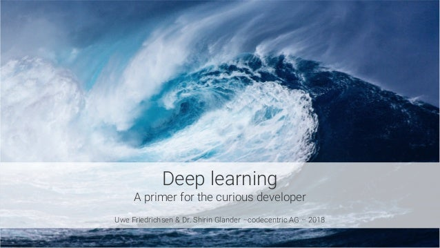 Deep learning A primer for the curious developer  Uwe Friedrichsen & Dr. Shirin Glander –codecentric AG – 2018