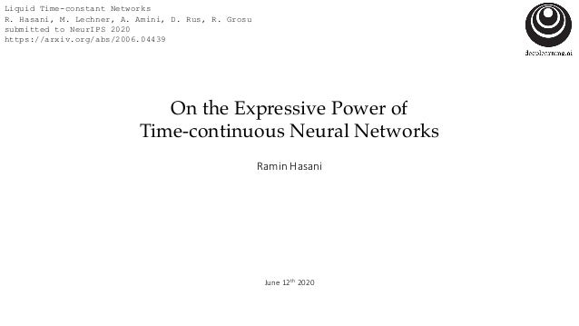 On the Expressive Power of Time-continuous Neural Networks Ramin Hasani June 12th 2020 Liquid Time-constant Networks R. Ha...