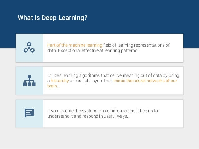 What is Deep Learning? Part of the machine learning field of learning representations of data. Exceptional effective at le...