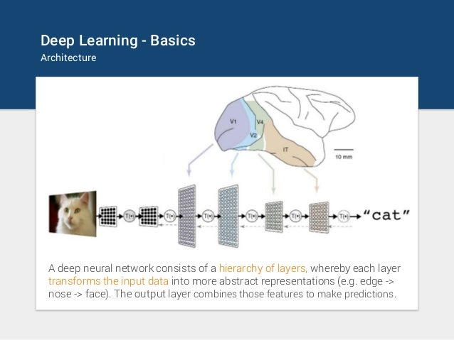 Deep Learning - Basics Architecture A deep neural network consists of a hierarchy of layers, whereby each layer transforms...