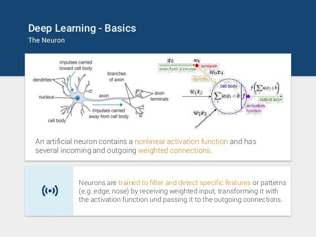 Deep Learning - Basics The Neuron An artificial neuron contains a nonlinear activation function and has several incoming a...