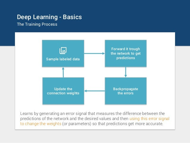 Deep Learning - Basics The Training Process Forward it trough the network to get predictionsSample labeled data Backpropag...