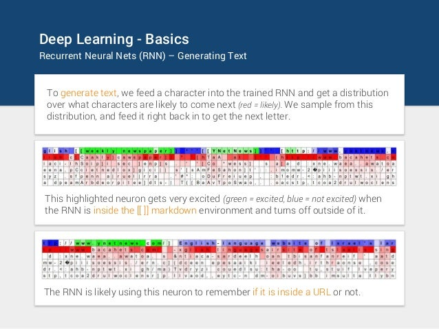 Deep Learning - Basics Recurrent Neural Nets (RNN) – Generating Text To generate text, we feed a character into the traine...
