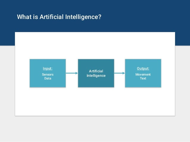What is Artificial Intelligence? Artificial Intelligence Output: Movement Text Input: Sensors Data