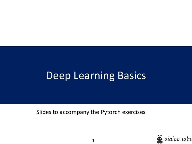 1 Deep Learning Basics Slides to accompany the Pytorch exercises